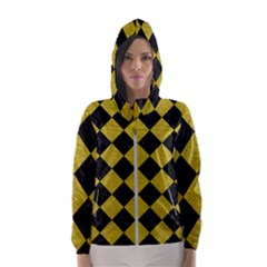 Square2 Black Marble & Yellow Leather Hooded Wind Breaker (women)