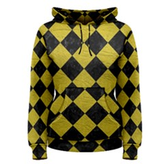 Square2 Black Marble & Yellow Leather Women s Pullover Hoodie