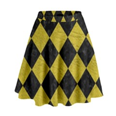 Square2 Black Marble & Yellow Leather High Waist Skirt