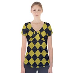 Square2 Black Marble & Yellow Leather Short Sleeve Front Detail Top