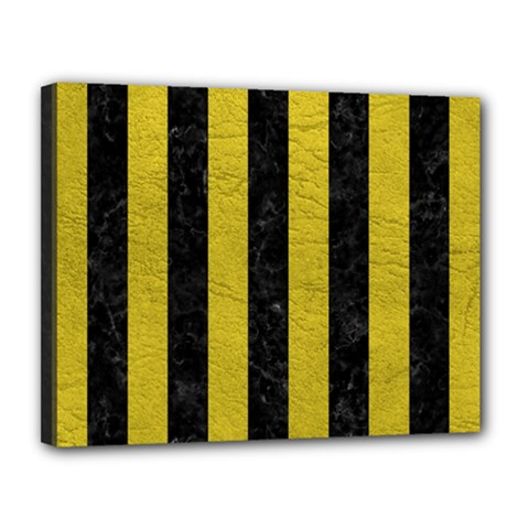 Stripes1 Black Marble & Yellow Leather Canvas 14  X 11