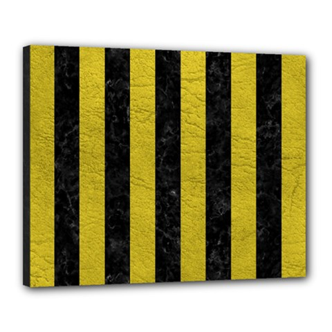 Stripes1 Black Marble & Yellow Leather Canvas 20  X 16