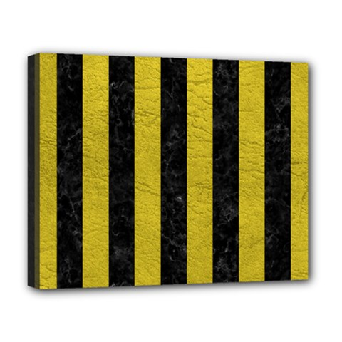 Stripes1 Black Marble & Yellow Leather Deluxe Canvas 20  X 16