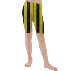 Stripes1 Black Marble & Yellow Leather Kids  Mid Length Swim Shorts