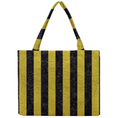 Stripes1 Black Marble & Yellow Leather Mini Tote Bag
