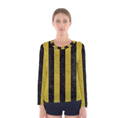 Stripes1 Black Marble & Yellow Leather Women s Long Sleeve Tee
