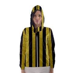 Stripes1 Black Marble & Yellow Leather Hooded Wind Breaker (women)