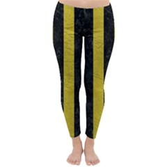 Stripes1 Black Marble & Yellow Leather Classic Winter Leggings