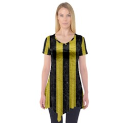 Stripes1 Black Marble & Yellow Leather Short Sleeve Tunic