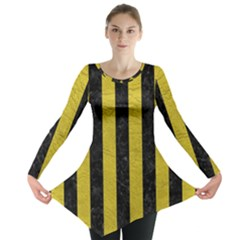 Stripes1 Black Marble & Yellow Leather Long Sleeve Tunic