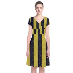 Stripes1 Black Marble & Yellow Leather Short Sleeve Front Wrap Dress