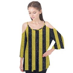 Stripes1 Black Marble & Yellow Leather Flutter Tees