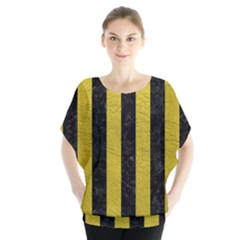 Stripes1 Black Marble & Yellow Leather Blouse