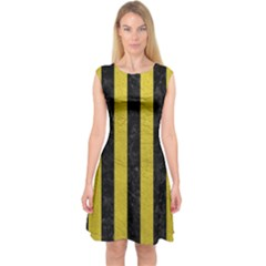 Stripes1 Black Marble & Yellow Leather Capsleeve Midi Dress