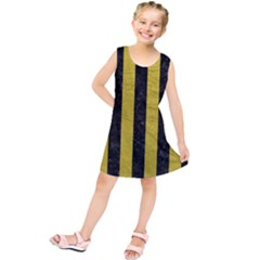 Stripes1 Black Marble & Yellow Leather Kids  Tunic Dress