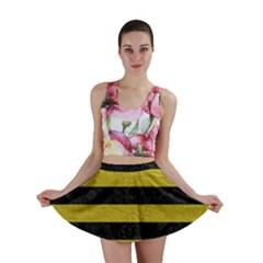 Stripes2 Black Marble & Yellow Leather Mini Skirt