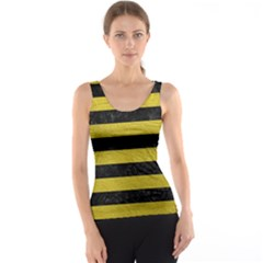Stripes2 Black Marble & Yellow Leather Tank Top
