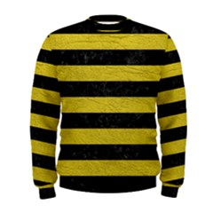Stripes2 Black Marble & Yellow Leather Men s Sweatshirt