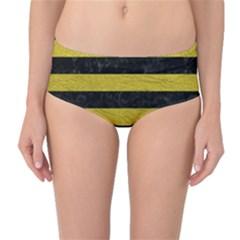 Stripes2 Black Marble & Yellow Leather Mid Waist Bikini Bottoms