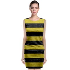 Stripes2 Black Marble & Yellow Leather Classic Sleeveless Midi Dress
