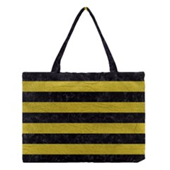 Stripes2 Black Marble & Yellow Leather Medium Tote Bag