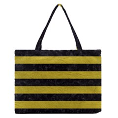 Stripes2 Black Marble & Yellow Leather Zipper Medium Tote Bag