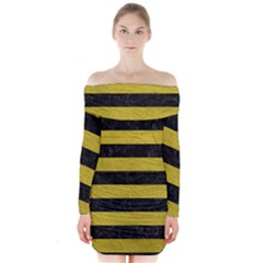 Stripes2 Black Marble & Yellow Leather Long Sleeve Off Shoulder Dress