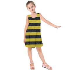 Stripes2 Black Marble & Yellow Leather Kids  Sleeveless Dress