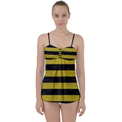 Stripes2 Black Marble & Yellow Leather Babydoll Tankini Set