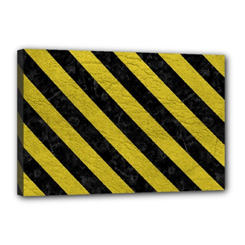 Stripes3 Black Marble & Yellow Leather Canvas 18  X 12