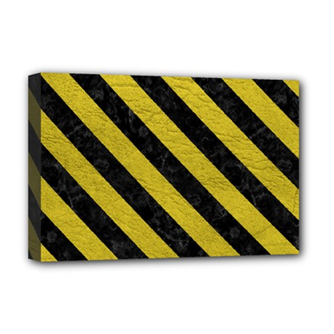Stripes3 Black Marble & Yellow Leather Deluxe Canvas 18  X 12