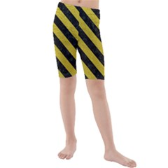 Stripes3 Black Marble & Yellow Leather Kids  Mid Length Swim Shorts