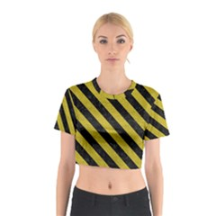 Stripes3 Black Marble & Yellow Leather Cotton Crop Top