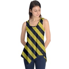 Stripes3 Black Marble & Yellow Leather Sleeveless Tunic