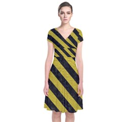 Stripes3 Black Marble & Yellow Leather Short Sleeve Front Wrap Dress