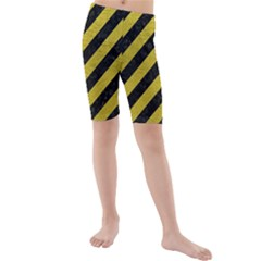Stripes3 Black Marble & Yellow Leather (r) Kids  Mid Length Swim Shorts