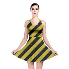 Stripes3 Black Marble & Yellow Leather (r) Reversible Skater Dress