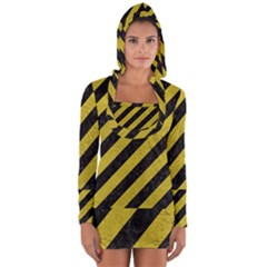 Stripes3 Black Marble & Yellow Leather (r) Long Sleeve Hooded T Shirt
