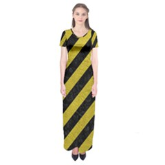 Stripes3 Black Marble & Yellow Leather (r) Short Sleeve Maxi Dress