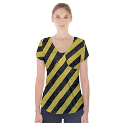 Stripes3 Black Marble & Yellow Leather (r) Short Sleeve Front Detail Top