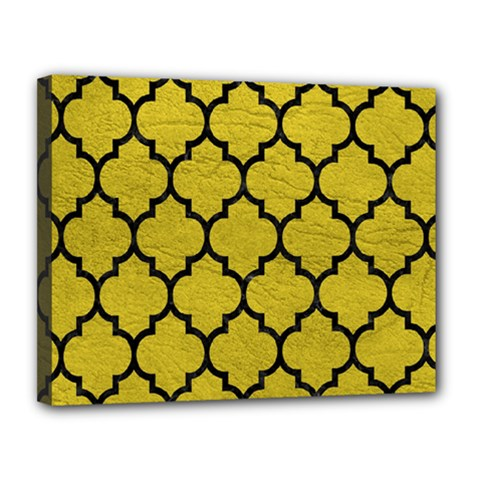 Tile1 Black Marble & Yellow Leather Canvas 14  X 11