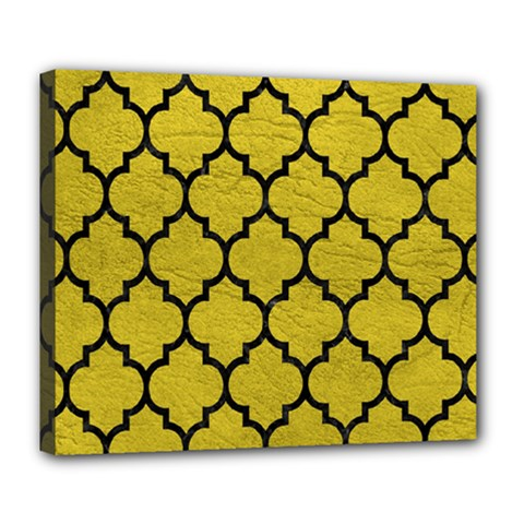 Tile1 Black Marble & Yellow Leather Deluxe Canvas 24  X 20