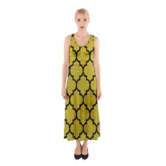 Tile1 Black Marble & Yellow Leather Sleeveless Maxi Dress