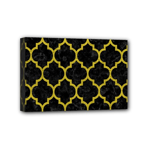 Tile1 Black Marble & Yellow Leather (r) Mini Canvas 6  X 4