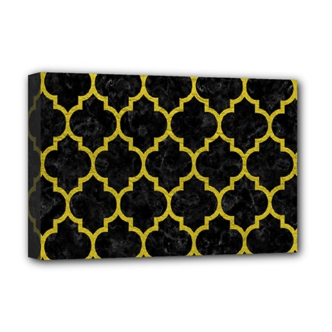 Tile1 Black Marble & Yellow Leather (r) Deluxe Canvas 18  X 12
