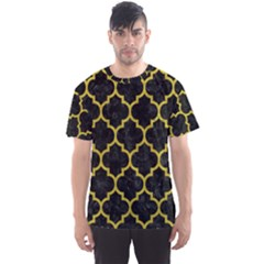Tile1 Black Marble & Yellow Leather (r) Men s Sports Mesh Tee