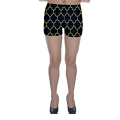 Tile1 Black Marble & Yellow Leather (r) Skinny Shorts