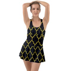 Tile1 Black Marble & Yellow Leather (r) Swimsuit