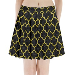 Tile1 Black Marble & Yellow Leather (r) Pleated Mini Skirt