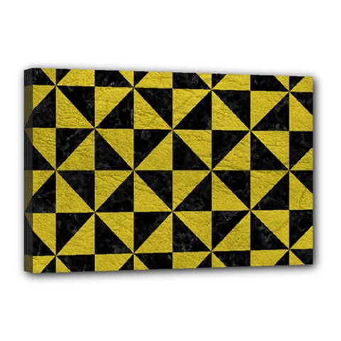 Triangle1 Black Marble & Yellow Leather Canvas 18  X 12